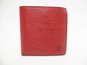 Authentic LOUIS VUITTON Epi Wallet Bi-fold Marco Red M63547 Vintage