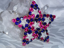 Exquisite JOAN RIVERS NIB Rose Pink, Clear & Blue Crystal STAR Pin / Brooch