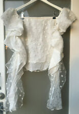 sass & bide Off the Shoulder Ruffle Sleeve Embroidered Polka Dot Top Ivory Au 8