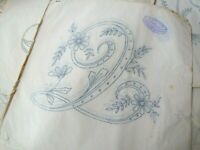 Vintage iron on embroidery transfer- large floral monogram letter Q monogramme