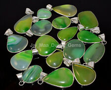 Sterling Silver Plated Bezel Pendants Pl-9 10 Pcs Natural Green Banded Agate 925