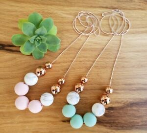 Handmade Pale Pink, Marble and Rose Gold Necklace