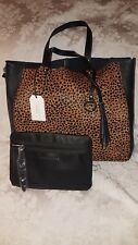 NWT Sanctuary Calf Hair Leopard Print Black Lthr Shoulder Tote Bag w/Pouch $228