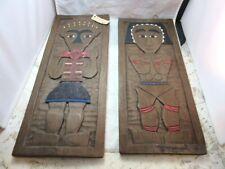 "16"" x 6"" Carved wood plaques. Aboriginal Australian Man & Woman folk art"