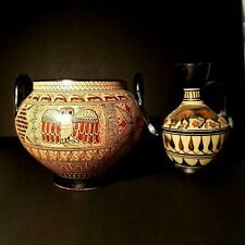 2x Antique Greek Museum Copies Of Pottery Vessels 550-625 Bc Owl+Boar+Chariots