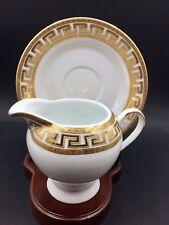 Casati Fine Porcelain Creamer & Saucer Bavaria Design ,Gold Trim,Made in Germany