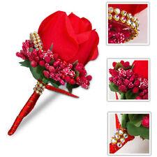 Best Man Groom Bride Corsage Silk Rose Pin Brooch Wedding Flower Boutonniere Sur