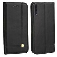 Hülle für Samsung Galaxy A50 SM-A505F EDLE Tasche Schutz Buch Case Etui SCHWARZ