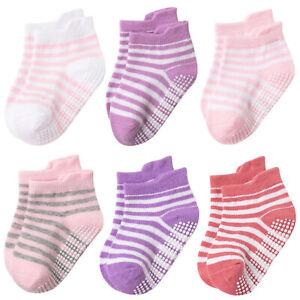 6pcs Anti Slip Non SkidAnkle Socks With Grips for Baby Toddler Kids Boys Girls