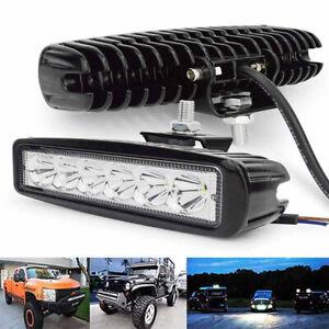 2X 6in 18W LED Work Lights Bar Flood Beam for Truck SUV ATV Waterproof 12V NEW