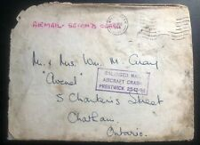 1954 England Prestwick Crash Cover to Chatham Canada Salvaged Mail Damaged