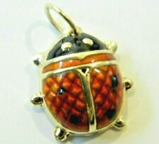 VINTAGE 14K SOLID YELLOW GOLD LADY BUG CHARM PENDANT RED & BLACK ENAMEL