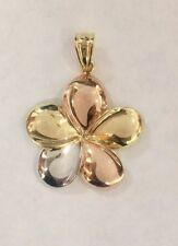 14K tricolor Gold Diamond cut Plumeria Flower Hawaiian Pendant