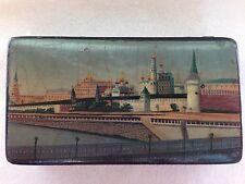 Lukutin? Imperial Russian Lacquer Stamp Box old White Kremlin Moskow River