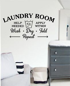 Laundry Room - Wall Art Sticker, Decal Mural, Kitchen, Utility Room. wash, dry,