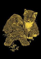 Kratzbild Kratzbilder - Hund und Katze Babys - Kupferfolie - Komplettset  Mini