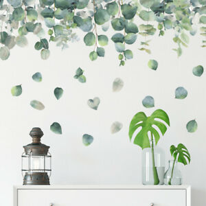 Removable Wall Stickers Nursery Tropical Green Leaves Watercolour Eucalyptus AU