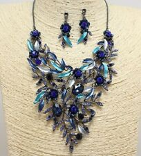 Blue Floral Crystal FASHION Necklace Set