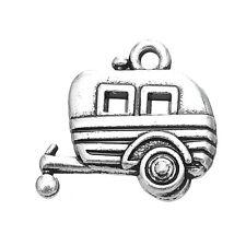 10pcs Camper RV Trailer Camping Car Charms Jewelry Antique Bulk Pendants Lot