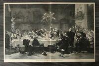 Kunst Holzschnitt 1900 letzte Gastmahl Generale Wallenstein - J Scholtz 39x25cm