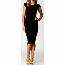 Women Ladies Cap Sleeve Midi Dress Plain Jersey Stretch Bodycon Plus Size 6-26
