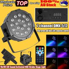 8pc Flat LED Par Cans 18 DMX Slim DJ Disco Stage Effect Strobe Party Light 18x3w