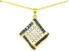 14k Two Tone Pendent with Diamonds and Sapphires