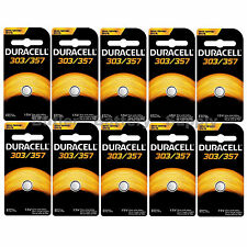 10 x 303/357 Duracell Silver Oxide Batteries (AG13, SB-A9, SR1154, SR44SW, WS14)