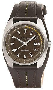 New AMPM Men's Analogue Quartz Watch PG126-U123 Steel Case Black Leather Strap