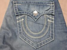 TRUE RELIGION MENS RARE RICKY BIG T DISTRESSED BLUE WHITE STITCHED JEANS 32 NEW