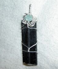 Black Tourmaline Crystal Sterling Silver Pendant w/ Aquamarine