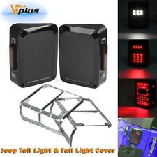 Smoked LED Reverse Tail Lights Brake Rear Turn signal Lamps+Guard Cover For Jeep