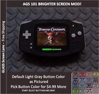 Nintendo Game Boy Advance  System AGS101 Backlit Mod-Glass Screen - Black