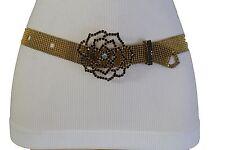 Women Rusty Gold Metal Skinny Fashion Belt Burgundy Red Beads Flower Buckle S M