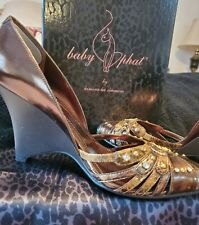 Baby Phat Wedge Shoes. US 7 1/2 M.Gorgeous Bronze/ Gold with Beading.Free ship!