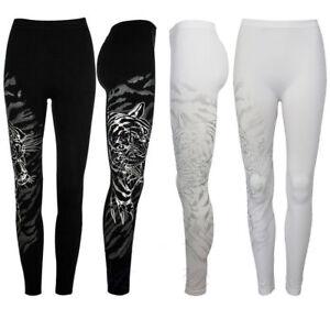 New Ladies Womens Patterned Leggings Tiger print White & Black leggings 8-14