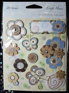 Flowers Butterfly 3D craft embellishment stickers - blue, brown, glitter (D114)