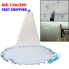 "12ft 24ft Spread Quick Throw Fishing Cast Net Saltwater Bait 3/4"" Mesh w/ Sinker"