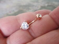 Gem Top Heart Rose Gold Titanium Plated Belly Button Navel Ring Body Jewelry
