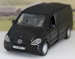 PERSONALISED PLATE Gift Black Mercedes Benz Vito Van Boys Toy Model Present Box