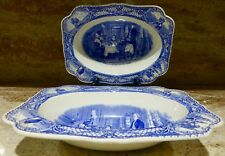 SET OF 2 - CROWN DUCAL - COLONIAL TIMES - SERVING BOWL - 9 INCH - ENGLAND