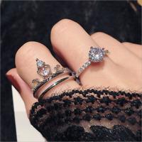 Luxury Round Cut White Sapphire Crown Open Ring Set 925 Silver Wedding Jewelry