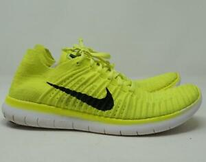 Nike Free RN Flyknit Running Shoes Neon Yellow/Black/White Men's US 10