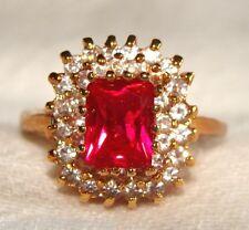 Gorgeous Vintage Lindenwold 14K GP, Genuine Ruby & CZ Cluster Ring SZ 9 NWT