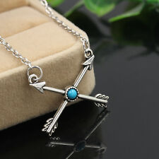 Vintage Tibetan Silver Women Love Cupid's Arrow Cross Pendant Chain Necklace Hot