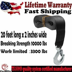 """New Trailer Winch Replacement Strap 2"""" x 20' 10000 lbs Safety Hook for Boat US"""
