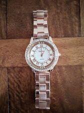 Geneva Ladies Fashion Rose Gold Crystal Stainless Steel Quartz Dress Wrist Watch