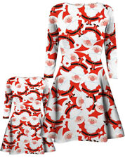 GIRLS CHILDREN WOMENS XMAS PRINT MOTHER DAUGHTER CHRISTMAS FLARED SWING DRESS