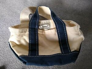 LL Bean Small Boat and Tote Bag Mini Navy Canvas Purse Beach Carry All Straps