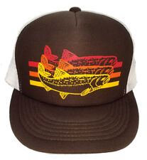 Trout Brown Striped  Snapback Mesh Trucker Hat Cap Fly Fishing